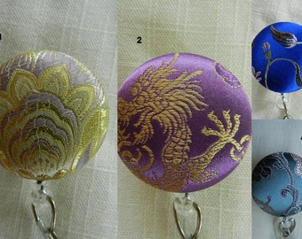 Badge reel~Silk Brocade ~ Retractable ID Name Badge Holder Reel
