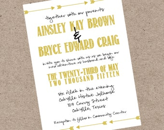 NEW! Arrow Aztec Adventure Wedding Invitation - Print At Home