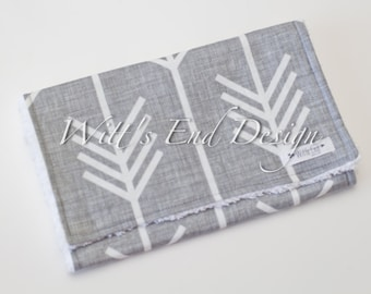 Gray Arrow Burp Cloth, Modern Gender Neutral Burp Cloth- Mix & Match-Super Absorbent Cotton Chenille, Baby Shower Gift-GRAY ARROWS