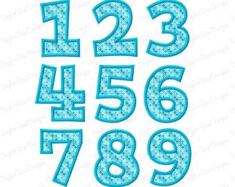 Bean Stitch Applique Block Number Set 2  0-9 Machine Embroidery Design 3x3 4x4 5x5 5x7 6x6 6x10 INSTANT DOWNLOAD