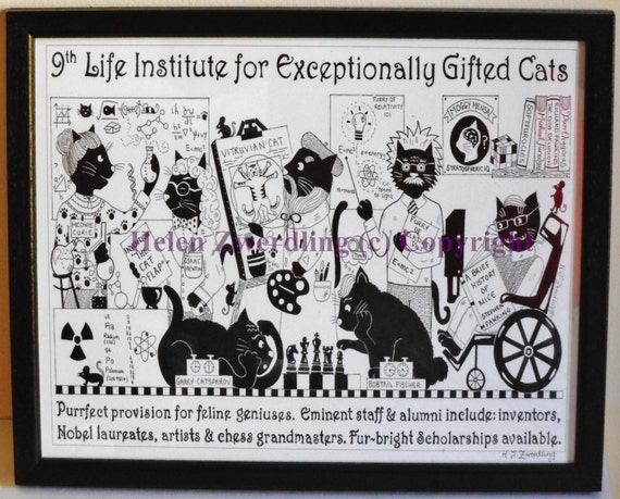 Cat lover art print: 9th Life Institute for Exceptionally