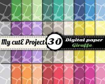 "Giraffe - Animal Prints - Instant Download - DIGITAL PAPER - Scrapbooking, graphic design -  A4 & 12x12"""
