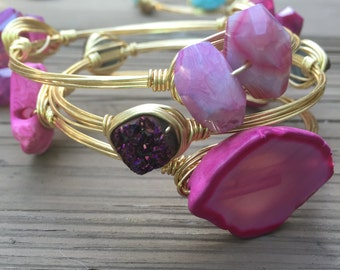 Hot Pink Agate Slice Wire Wrapped Bangle - QTY 1