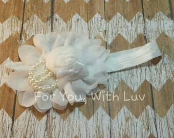Infant /Toddler White flower headband with pearl and ribbon embellishments. Flower girl accessory, hair accessory.