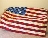 Patriotic Throw Quilt, Large Lap Quilt, Wall Hanging, Quilt of Valor, Veteran Quilt, Patriotic Quilt Decor, MADE TO ORDER, Quiltsy Handmade