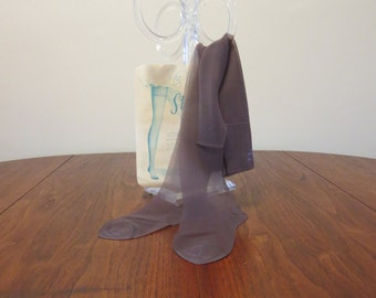 5 dollar Summer SALE Vintage 1960s 1970s Deluxe coffee brown seamless stretch nylon stockings hosiery unused