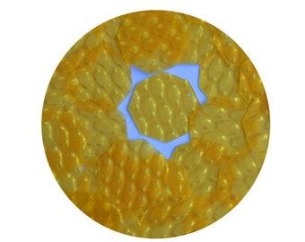 3D Golden Yellow 1.5 inch Octagon Dimensional Reflector Loose Sequin Paillette. Made in USA.