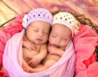 SALE Spring Summer Twins Baby Girl Hat,Newborn hospital hat,Newborn girl hat,Hospital newborn hat,Newborn,Baby, Newborn hat, Baby hat, Ready