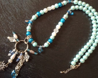 Long beaded blue necklace,Snow flakes and icicle necklace, Crystal Necklace, Winter Necklace, winter jewelry, gift.