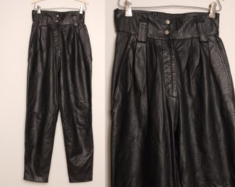 80s Pleated Leather Pants Small to XS