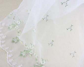 Lace Fabric White Soft Organza Embroidery Flower Dress Fabric Wedding Fabric 1 yard
