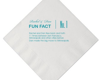 100 Trivia Personalized Napkins Birthday Wedding Fun Fact Beverage Luncheon Dinner And Guest