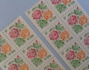 Unused Vintage Postage Stamps from 1978, Medallion roses, 16 Pieces