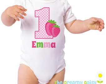 Personalized Strawberry Birthday Bodysuit - Berry Infant One Piece - Birthday Personalized Bodysuit or T-Shirt - Custom Baby Girl Outfit