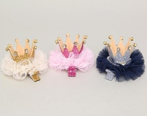 Glitter Princess Crown Hair Clip with Rhinestone, Baby Kids Girls Hair Clips