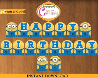 Despicable Me Banner - Printable Minions Birthday Party Banner- Birthday Banner- Minions Decorations - INSTANT DOWNLOAD