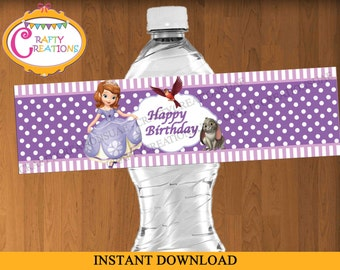Sofia Water Bottle Wrapper - Princess Sofia Water Wrapper - Sofia Birthday Party Decorations -DIY-Custom- Instant Download- Crafty Creations