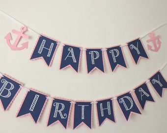 Nautical Happy Birthday Pennant Banner with Anchors - Nautical Themed Birthday Party - Customize Colors