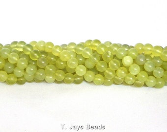 6mm Oliven Jade (Serpentine) Round Beads