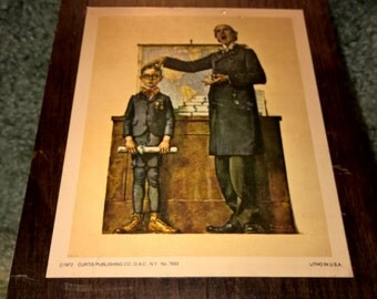 "1972 Curtis Publishing Litho on Wood - ""First in Class"" Wall Plaque"