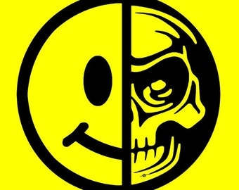 Smiley Face Skull Yellow - Giclee Print