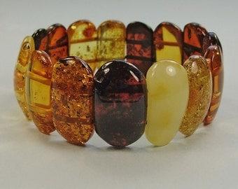 Genuine Baltic amber stretch bracelet .