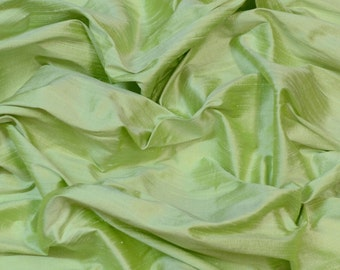 "Iridescent Lettuce Green Dupioni Silk, 100% Silk Fabric, 44"" or 54"" Wide, By The Yard (S-249)"
