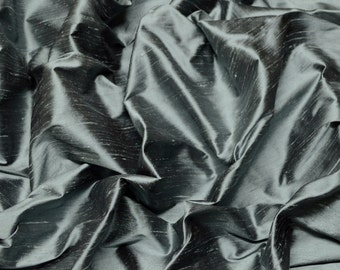 "Iridescent Gunmetal Dupioni Silk, 100% Silk Fabric, 44"" Wide or 54"" Wide, By The Yard (S-108)"