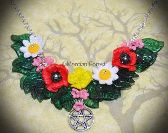 Summer Fields Wild Flower Necklace - Pagan Jewellery, Wicca, Litha, Lughnasadh