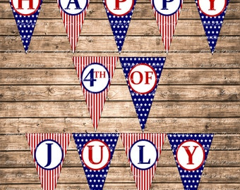 Printable Happy 4th Of July Stars and Stripes Red White and Blue Banner - DIY Instant Download Printable Banner Bunting Sign Pennant