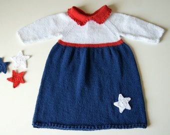 Newborn baby dress, 4th of July baby outfit, american flag clothing, baby girl dresses, Patriotic dress