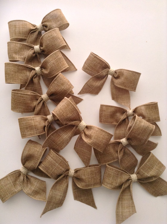 burlap small bows set of 12 natural decorative bows. Black Bedroom Furniture Sets. Home Design Ideas