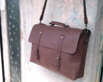 Men leather messenger bag personalized Leather satchel father Laptop leather bag crossbody Brown leather briefcase Handstitched leather bag