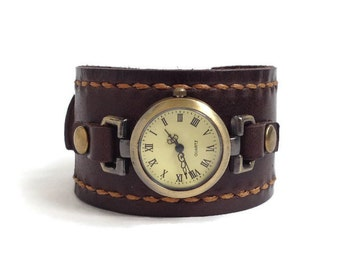 Leather cuff watch for women Women round watch Dark brown leather watch Summer trending gifts Women watch wrist Hand stitched watch band