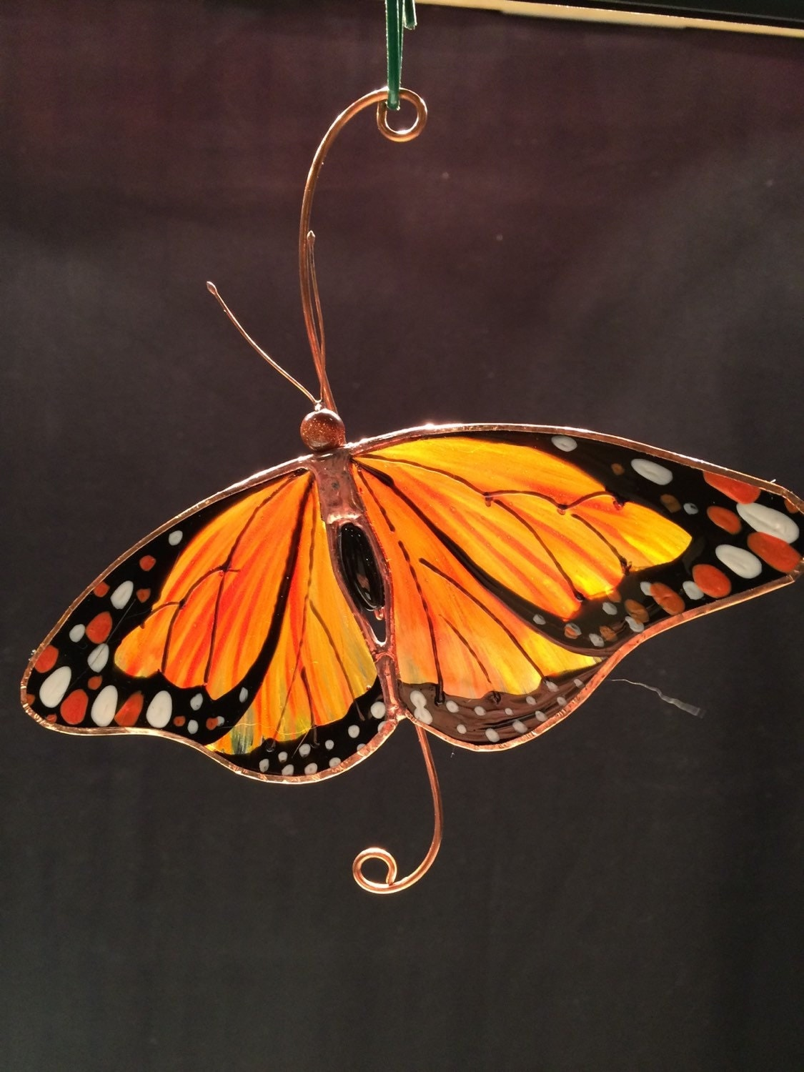 Relaxed monarch butterfly stained glass suncatcher for Butterfly stained glass craft