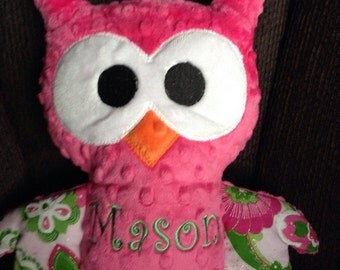 Stuffed Owl Plushie. Made with Bright Pink Minky and Personalized. Fuchsia Stuffed Animal.