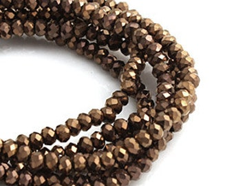 2mm Bronze Opaque Crystal glass Rondelle  Faceted Beads - about 90pcs (C2005- FikaSupplies)