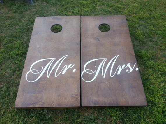 Mr And Mrs Customizable Wedding Theme Cornhole Boards With 4 Brown
