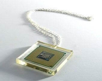 Processor CPU Resin Silver - Necklace