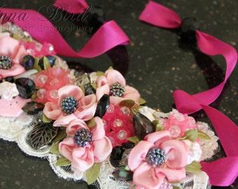Romantic Vintage Lace Shabby Chic Cuff Bracelet Ribbonwork,  Ribbon Embroidery Jewellery