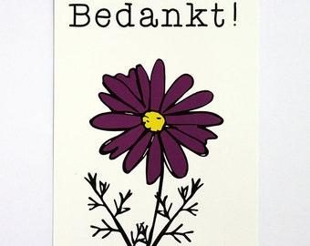 Thank you | Dutch postcard | Flower | Illustration