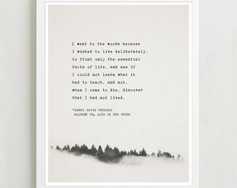 Henry David Thoreau Quote, Walden: or, Life in the Woods, Typography Poster, Quote Print, Poetry Art Print, Wall Decor