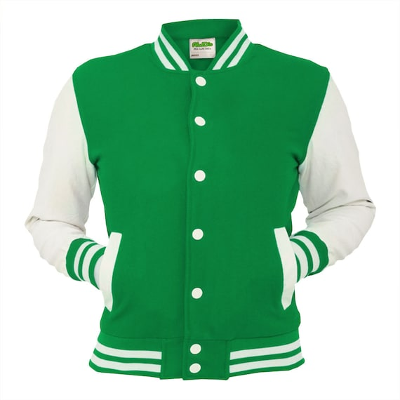 Kelly Green Varsity Jacket Blue Jade Letterman Coat Baseball