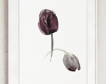 Purple Tulips Watercolor Painting, Aubergine Tulip Art print, Abstract Flower Home Decor