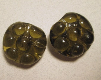 2 Large Vintage Olive Green Lentel Beads
