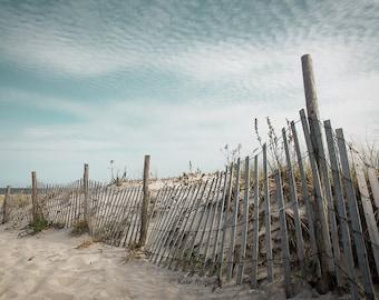 Beach Photography, Seascape Art, Beach Print, New Jersey Beaches, Sand Dunes, Dune Fence Beach, Beach House Decor, Teal Aqua Turquoise Tones