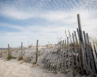 Beach Photography, Seascape Art, Beach Print, New Jersey Beaches, Sand Dunes, Sand Dune Fence, Beach House Decor, Blue Gray Neutral Tones