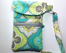 Teal and Gray Iphone Wristlet-Smart phone Padded Wristlet-Teal and Brown Iphone Clutch-Padded Clutch-Zipper ID Pouch-