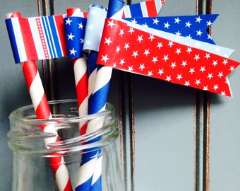 Stars & Stripes Drink Flags | Sold in Sets | Patriotic Drink Flags