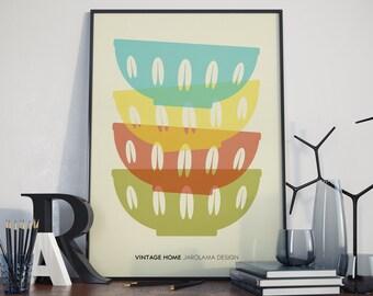 A3 Poster. Vintage Bowl Prints.